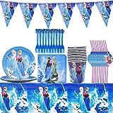 YUESEN Frozen Juego de fiesta de cumpleaños Decoración de cumpleaños Vajilla Accesorios para fiestas Juego de vajilla de fiesta Juego de Cumpleaños para niños Decoración de mesa Fiesta 71 piezas