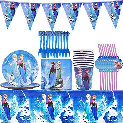 YUESEN Frozen Juego de fiesta de cumpleaños Decoración de cumpleaños Vajilla Accesorios...