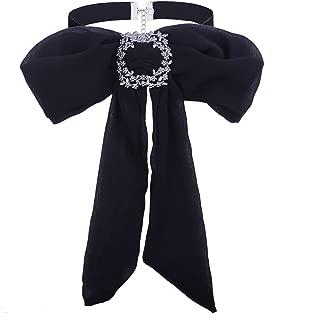 Kercisbeauty Adjustable Lady Girl Bow tie Necktie Corsage Brooch Chiffon Choker Necklace Blouse Collar Bowknot Scarf Scarves School Anniversary Graduation Ceremony,School Girl (Black)
