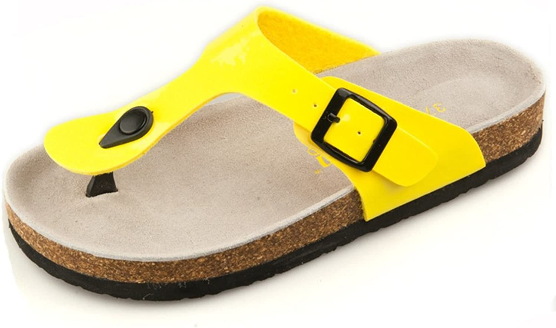 CYBLING Women's T-Strap Thong Sandals Flip-Flop Beach Casual Chunky Flat Summer Slipper shoes