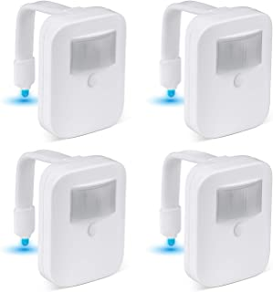 4 Pack Toilet Night Lights, 16 Color Motion Sensor Activated, Light Detection, Cool Fun Bathroom Bowl Nightlight, Unique & Funny Gifts for Men Dad Mom Women, Gag Stocking Stuffers