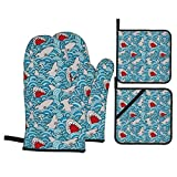 Shark Attack Oven Mitts and 2 Pot Holders Set, Soft Cotton Lining with Non-Slip Surface, Kitchen Microwave Gloves for Baking Cooking Grilling BBQ