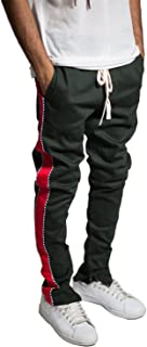 Men's Tapered Skinny Stretch Twill Striped Pants with Ankled Zippers Long Drawstring