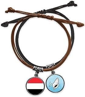 イエメン国旗のアジアの国のシンボルマークのパターン ブレスレットロープハンドチェーンレザーコンチリストバンド