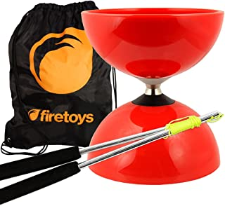 Red Big Top - Jumbo Bearing Diabolos Set, Ali Dream Metal Diablo Sticks, Diabolo string & Firetoys® Bag!