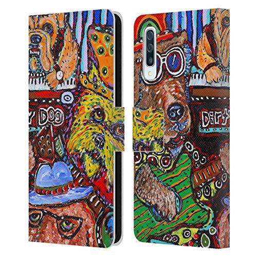Head Case Designs Offizielle Mad Dog Art Gallery Band H&e 3 Leder Brieftaschen Huelle kompatibel mit Samsung Galaxy A50/A30s (2019)