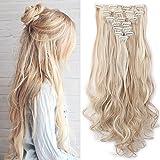 Clip in Extensions wie Echthaar günstig Haarteile 8 Tresssen 18 Clips für komplette Haarverlängerung Gewellt Haarextensions 24'(60cm)-140g Honigblond/Blond