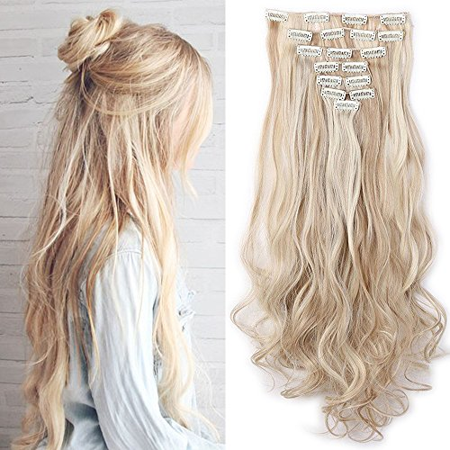Haarteil Clip in Extensions wie Echthaar Honigblond/Blond 8 Tresssen günstig komplette Haarverlängerung Gewellt 24