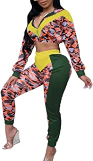 FSSE Womens Two Pieces Camouflage Print Zip-Up Tops and Pants Sweatsuit Set