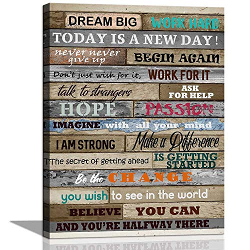 CANVASZON Inspirational Wall Art Motivational Poster Quotes Office Wall Decor for Living Room Bedroom Bathroom Decoration Canvas Print Framed Art Today is A New Day Ready to Hang 12x16inch