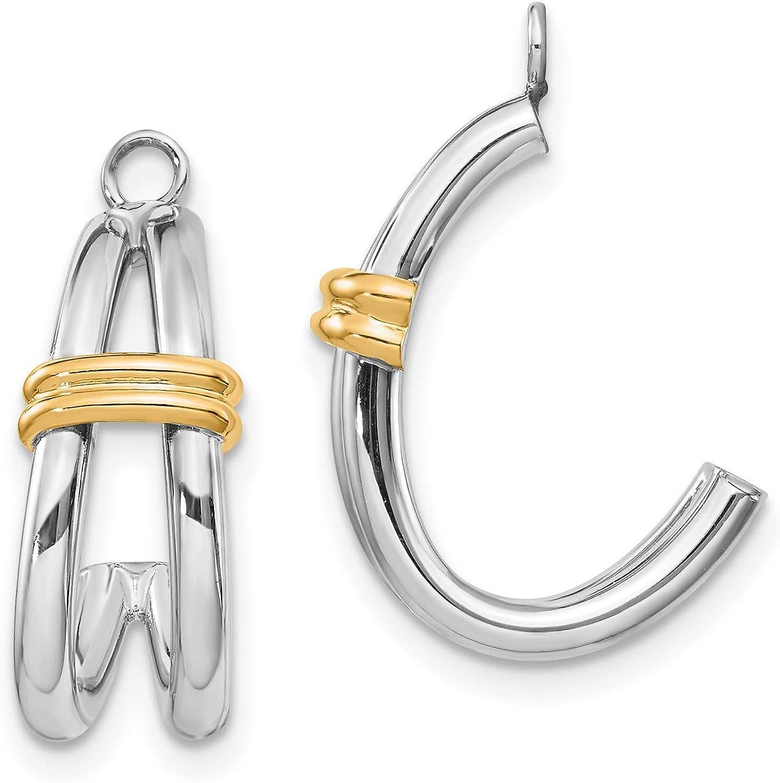 14k Multi-Tone Gold J Hoop Earring Jackets 21x12 mm