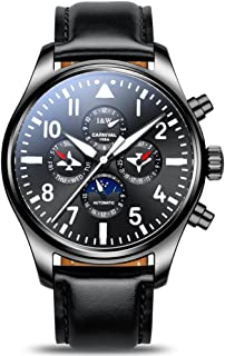 Pilot Men's Complications Analog Automatic Mechanical Watch Luminous Calendar Moon Phase 24-Hours Black