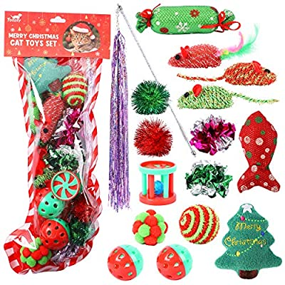 Toozey Christmas Cat Toys, 16 Pcs Cat Toys Set for Indoor Cats, Interactive Cat Toys Cats Mice Toys Set for Kitty and Cats