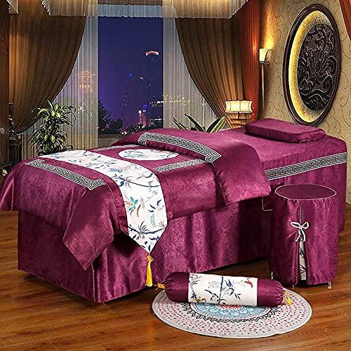 ASDF Beauty Bettdecken (5er-Set),Massage-Tischwäsche waschbar,Bettwäsche-Set mit Gesichtsloch für Schönheitssalon,Bettbezug,Kissenbezüge,Hockerbezug,Tagesdecke,dunkelviolett,190 * 80cm