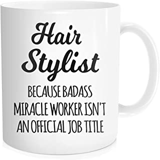 Waldeal Hairstylist Coffee Mug, Hair Stylist Miracle Worker Job Title, Gifts For Hairdresser, Salon Barber, Boss, Friends, Coworker, White Fine Bone Ceramic 11 OZ