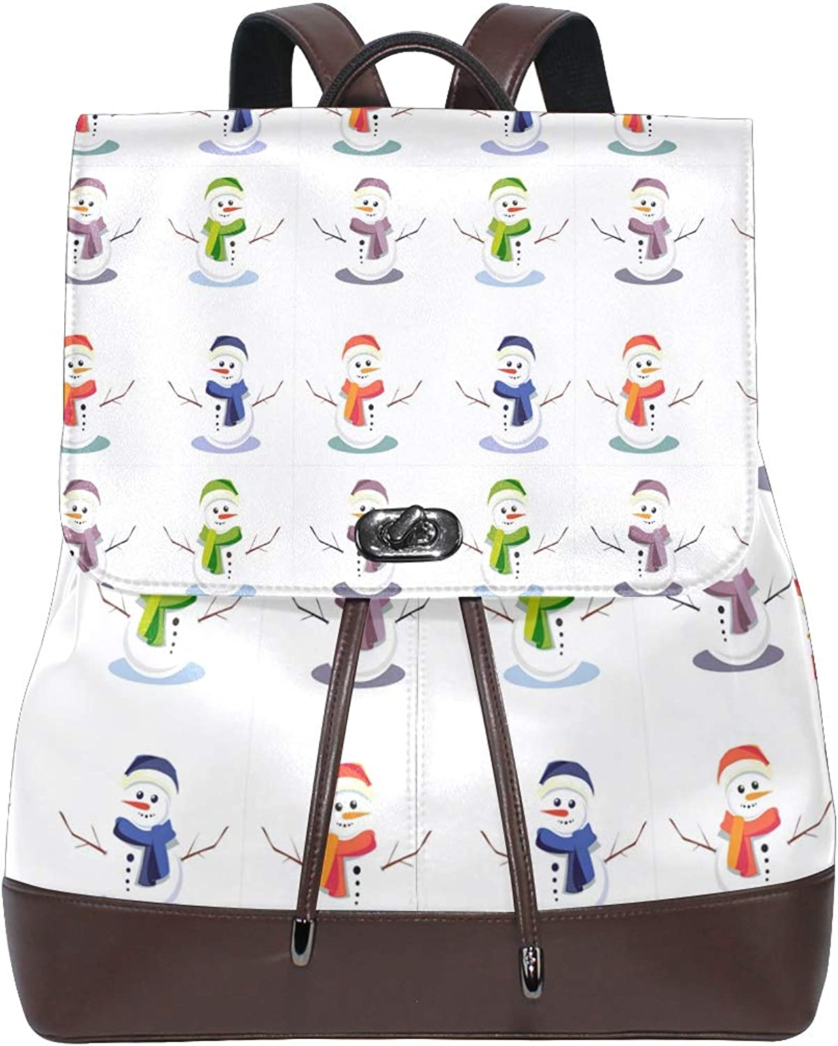 Leather Chrismas Cute Snowmens Backpack Daypack Bag Women