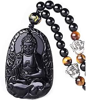 Pure Natural Obsidian Natural Pendant Necklace Zodiac Bodhisattva Amulet Talisman White Copper Buddha Necklace Pendant