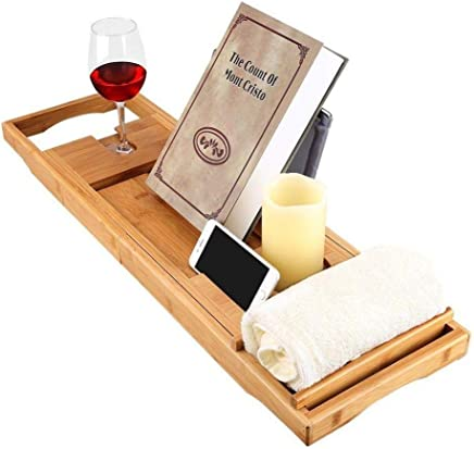 Bath Tray Bamboo Bathtub Caddy with Extending Sides, Mug Wineglass Smartphone Holder, Metal Frame Book Pad Tablet Holder, Detachable Sliding Tray, Non-Slip Rubber Base PREMIUM
