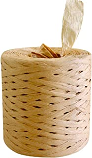 Paper Ribbon Raffia Twine Strings, Natural Craft Kraft Packing Rope, Brown 1 Roll 1/4 Inch by 218 Yards