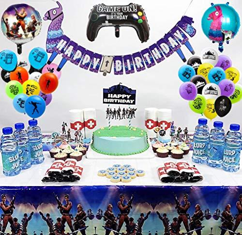 veeyiki 118PCS Decoraciones para Cumpleaños de Tema de Videojuegos con Globos Pancartas Adornos para Pasteles Mantel, Pegatinas de Chocolate, Etiquetas de Botellas, Pegatinas de Papel en Rollo