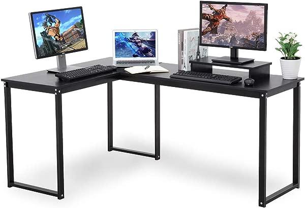 Umekesa L Shape Corner Computer Desk Writing Gaming Home Office Desk With Monitor Stand Large PC Laptop Workstation Black