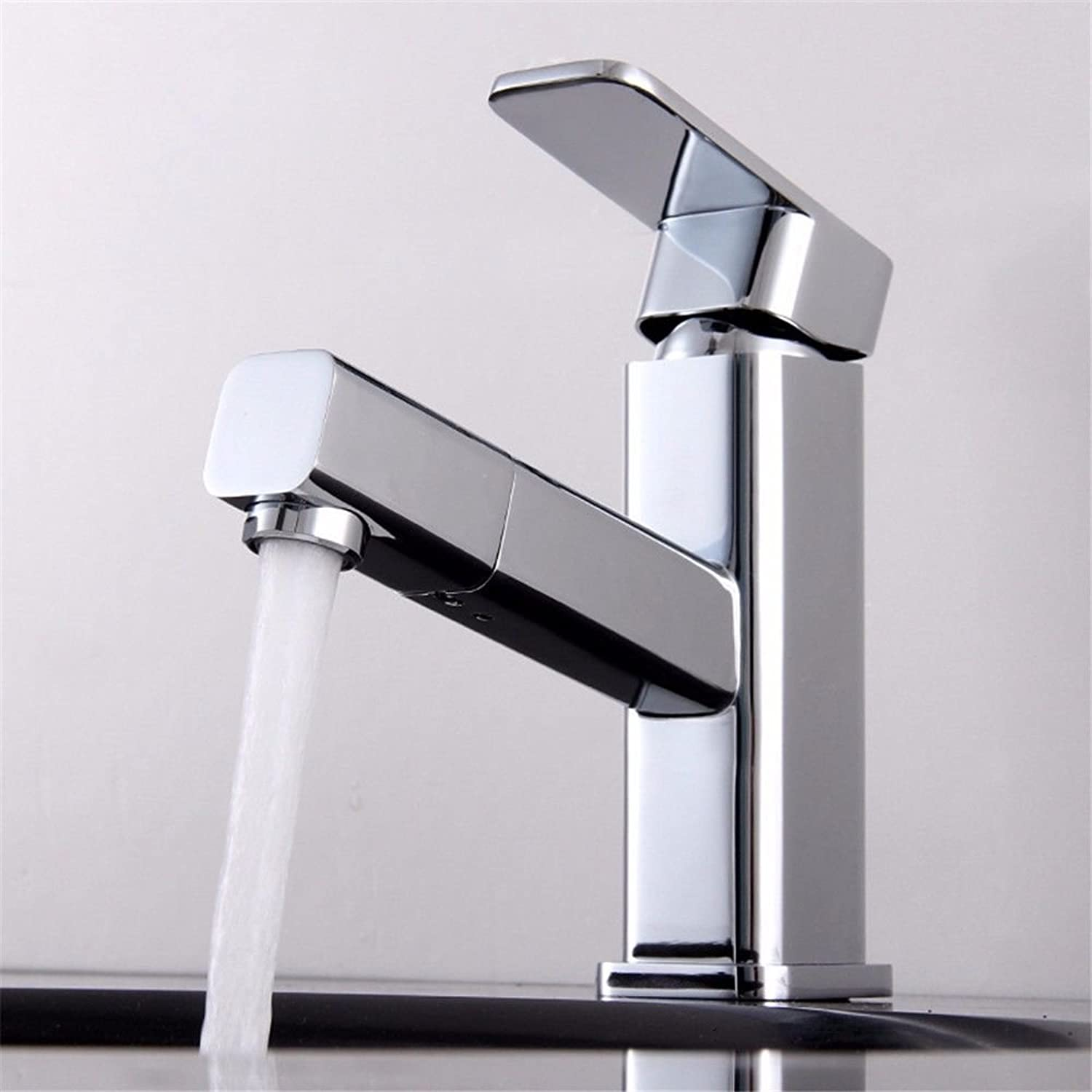 Lpophy Bathroom Sink Mixer Taps Faucet Bath Waterfall Cold and Hot Water Tap for Washroom Bathroom and Kitchen Copper Hot and Cold Drawing Square