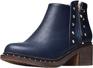 TAOFFEN Women Classic Ankle Boots Block Heels