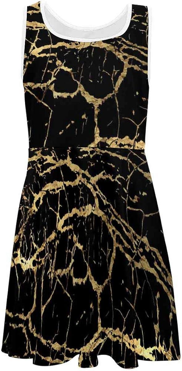 InterestPrint Girls Summer Dress Sleeveless Printing Casual/Party Giraffes in Cyan (2T-XL)