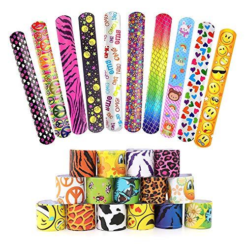 25Pcs Pulseras Slap Pulsera Bofetada Pulseras de Juguete Slap Bracelets Banda de Pulsera Fiesta Cumpleaños de Infantil Rellenos de Bolsa de Fiesta para niños niñas