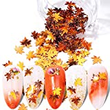 Fall Nail Art Stickers Maple Leaves Nail Glitters Autumn Design Nail Supplies 1 Box Holographic Nail Decals Flakes Sequin Shinny Maple Leaf Nail Paillette Decoration DIY Manicure Polish Accessories