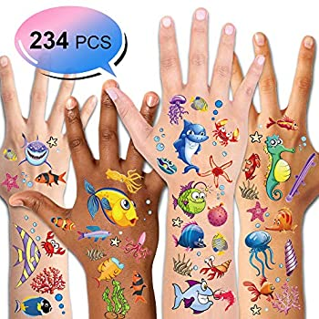 Konsait 234PCS Tropical Fish Temporary Tattoos for Kids Boys Girls Ocean Sea Children s Birthday Party Bag Filler Fake Waterproof Tattoo Stickers For Kids Party Decorations Supplies Favors