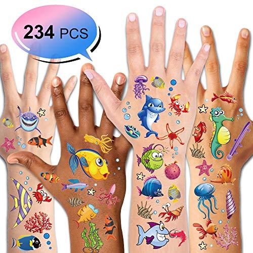 Konsait Tattoo Kinder, Fische Tattoo Set, 234pcs Fische Temporäre Tattoos Kindertattoos Aufkleber für Kinder Party Kindergeburtstag Mitgebsel Geschenktüten Kinder Spielen