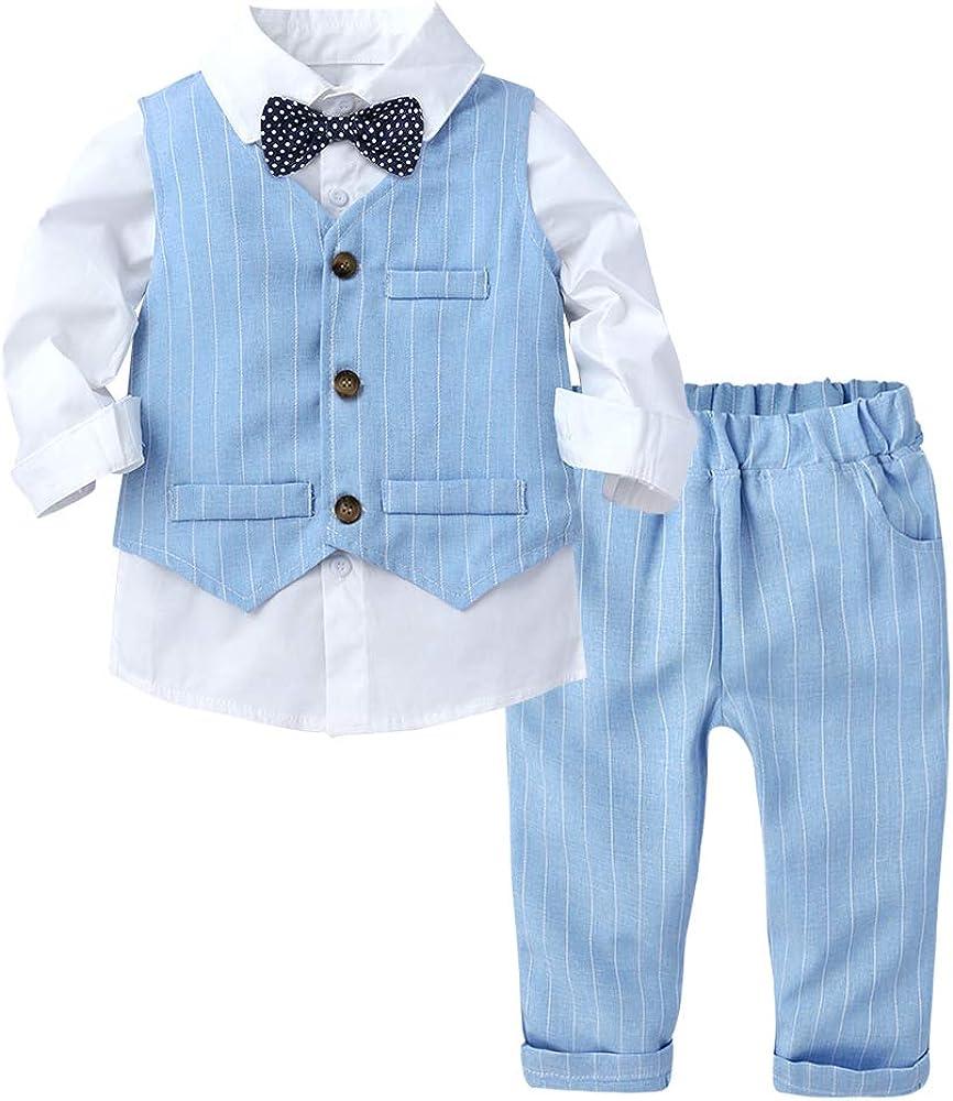Baby Boys 3Pcs Gentleman Suit Kids Formal Outfits Set Bowtie Long Sleeve Shirt+ Tuxedo Vest+ Pants