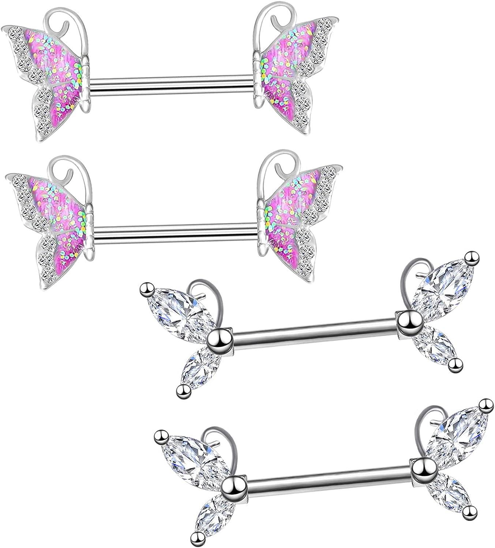 CHARM ONLINE 2PCS 14G 316L Stainless Steel Clear CZ Nipple Rings Butterfly Nipple Barbell Nipple Piercings Jewelry for Women