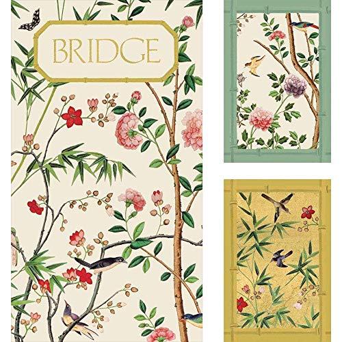 Caspari - Carta da parati cinese. Il set regalo Caspari Bridge include un doppio mazzo di carte e 2 segnapunti in una scatola di presentazione.