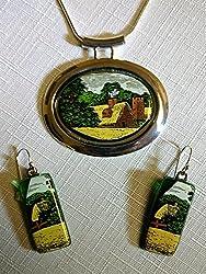 Earrings and Necklace set from Bottle ~ cut bottle art