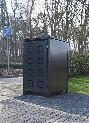 Srm-Design 1 Mülltonnenbox Modell No.5 für 120 Liter Mülltonnen/komplett Anthrazit RAL 7016 / witterungsbeständig durch Pulverbeschichtung/mit Klappdeckel und Fronttür