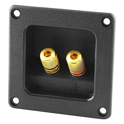 BestPlug Audio Lautsprecher Boxen Einbau-Buchse Terminal rechteckig, vergoldet, Schwarz