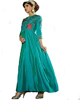 Monika Silk Mill Women's Green Color Silk Embroidered Gown