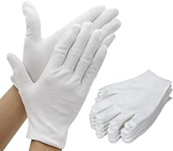 Yakamoz 15 Pairs White Cotton Work Gloves for Men Women Serving/Waiters/Drivers/Jewelry Inspection Protective Gloves, M