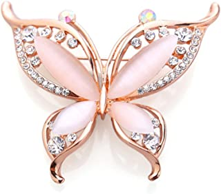 BEICHUANG Rhinestone Crystal Romantic Butterfly Elegant Insect Brooch Pin Wedding Party Banquet (Rose Gold)