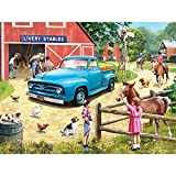Bits and Pieces - 500 Piece Jigsaw Puzzle for Adults 18' x 24' - A Stop at The Stables - 500 pc Spring Farm Horse Ranch Animel Stables Jigsaw by Artist Kevin Walsh