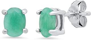 Genuine Ruby/Sapphire/Emerald Prong Set Oval Stud Earrings in Sterling Silver (7x5mm)