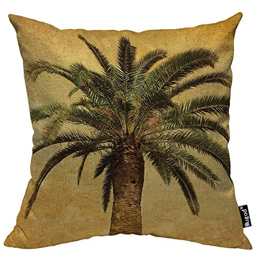 Mugod Palm Tree Throw Pillow Case Hawaiian Tropical Palms Leaf Vintage Green Yellow Decorative Cotton Linen Square Cushion Covers Standard Pillowcase Couch Sofa Bed Men/Women 18x18 Inch