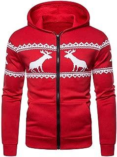 Mens Elk Hoodie Zipper Sweatshirt Outwear Jumper Sweater Top Coat Christmas
