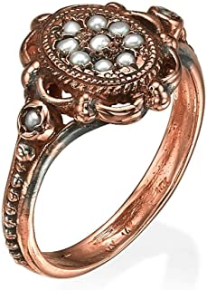 Baltinester Jewelry Solid 14k Rose Gold Vintage Style Pearl Cluster Ring Ornate Unique Engagement Ring