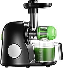 Extracteur de Jus, 2 filtres, Slow Juicer Presse à Froid Machine avec Moteur Silencieux, Fonction Inverse, Tasse à Jus, Br...