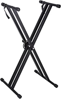 Yosoo Piano Keyboard Stands, Black Portable X-Style Keyboard Holder Stand Double Braced Music Electric Organ Holder Adjustable Height 37.4 x 16.92Inch