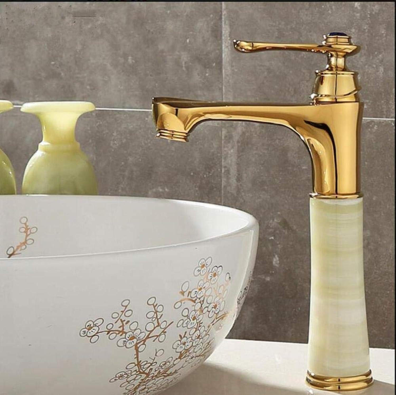 Kai&Guo Hoher Becken Wasserhahn Gold Kran Messing Jade Krper Bad Becken Wasserhahn Deck Montieren Arbeitsplatte Wasser Mixer Waschbecken Wasserhahn, Stil 1