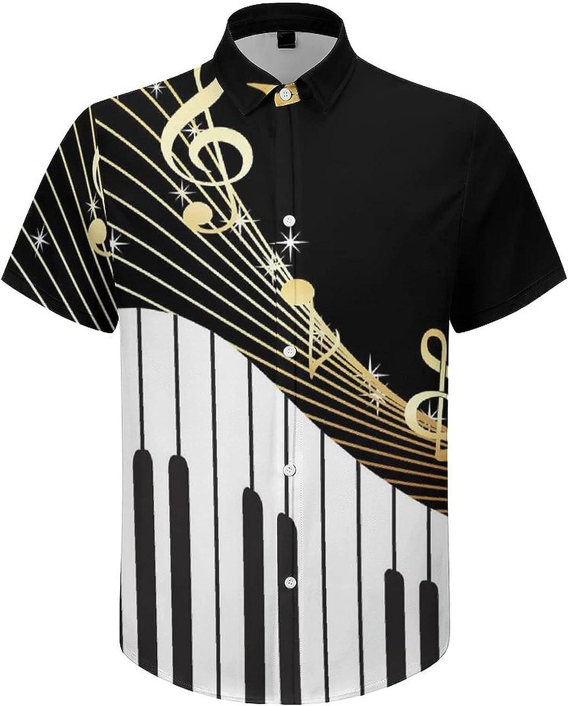 Mens Button Down Shirt Piano Keys with Musical Notes Casual Summer Beach Shirts Tops